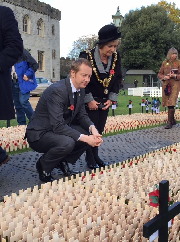 With Lord Mayor of Cardiff, Margaret Jones paying respect to Service People who lost their lives in conflict.