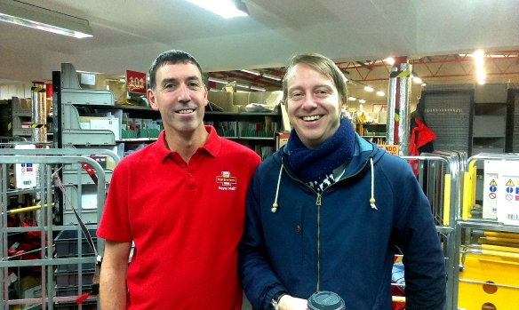 Here i'm stood with a Postman from the delivery office in North Cardiff