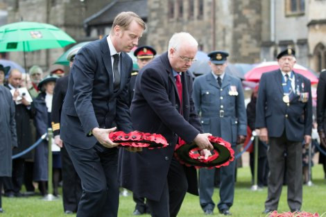 Paying my respects at Cardiff Castle with Minister for Public Services, Leighton Andrew