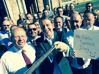 I took a selfie with council staff at City Hall this morning
