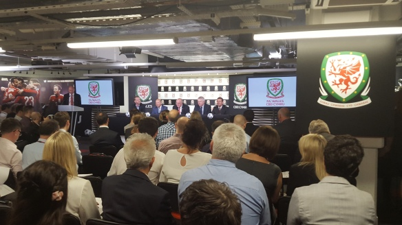 A packed house at the Millennium Stadium during the press conference on the Champions League final