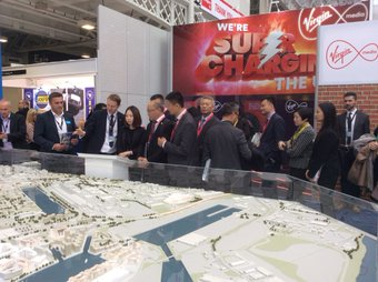 Showing the Chinese delegation some of the forthcoming developments in Cardiff
